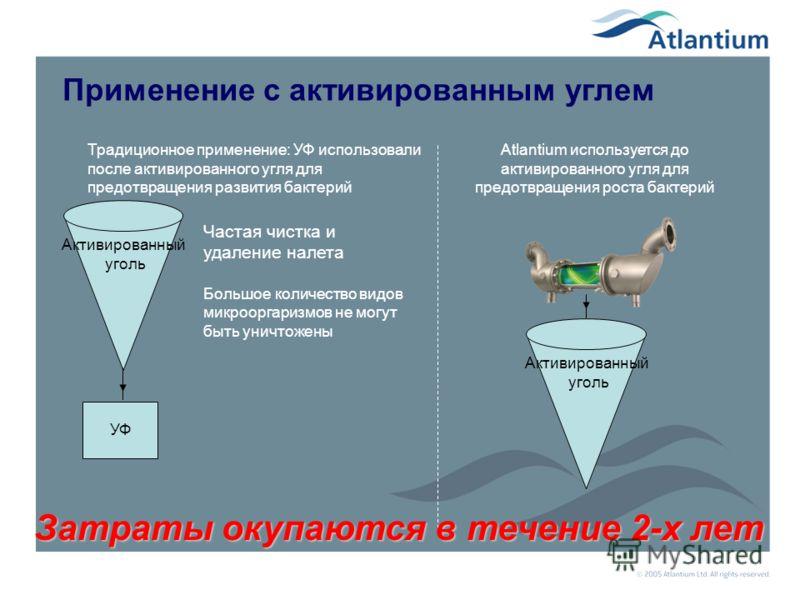 Пример применения Atlantium в промышленности Тнува – самый крупный молокозавод на Ближнем Востоке 3 установки Atlantium по 100 м3/час Внешний вид комплекса Atlantium