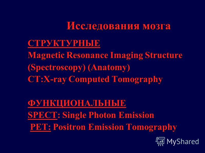 Исследования мозга СТРУКТУРНЫЕ Magnetic Resonance Imaging Structure (Spectroscopy) (Anatomy) CT:X-ray Computed Tomography ФУНКЦИОНАЛЬНЫЕ SPECT: Single Photon Emission PET: Positron Emission Tomography PET: Positron Emission Tomography