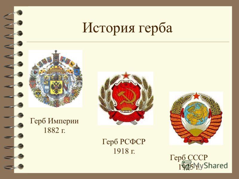 История герба Герб Империи 1882 г. Герб РСФСР 1918 г. Герб СССР 1925 г.
