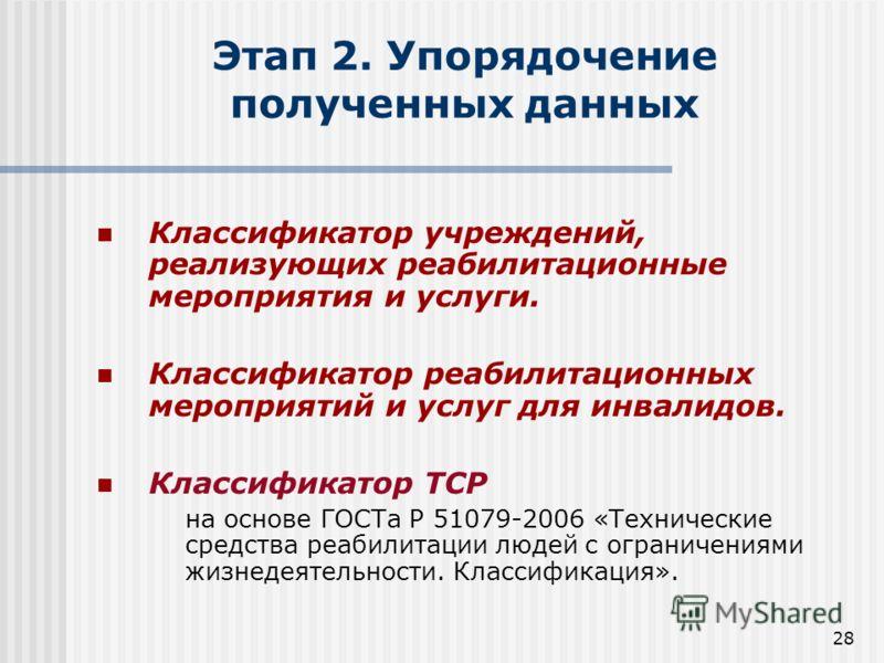 28 Этап 2. Упорядочение полученных данных Классификатор учреждений, реализующих реабилитационные мероприятия и услуги. Классификатор реабилитационных мероприятий и услуг для инвалидов. Классификатор ТСР на основе ГОСТа Р 51079-2006 «Технические средс