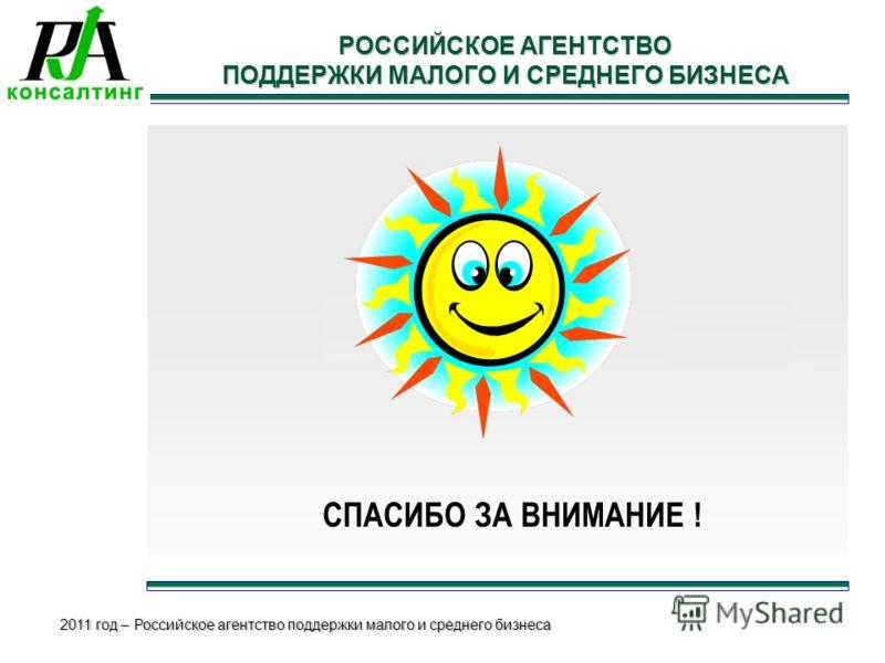 2011 год – Российское агентство поддержки малого и среднего бизнеса РОССИЙСКОЕ АГЕНТСТВО ПОДДЕРЖКИ МАЛОГО И СРЕДНЕГО БИЗНЕСА СПАСИБО ЗА ВНИМАНИЕ !