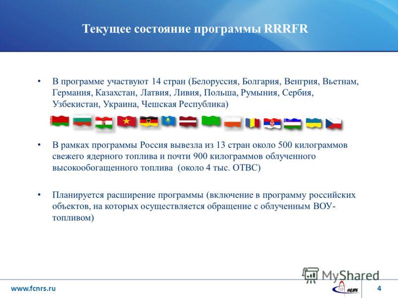 Текущее состояние программы RRRFR В программе участвуют 14 стран (Белоруссия, Болгария, Венгрия, Вьетнам, Германия, Казахстан, Латвия, Ливия, Польша, Румыния, Сербия, Узбекистан, Украина, Чешская Республика) В рамках программы Россия вывезла из 13 ст