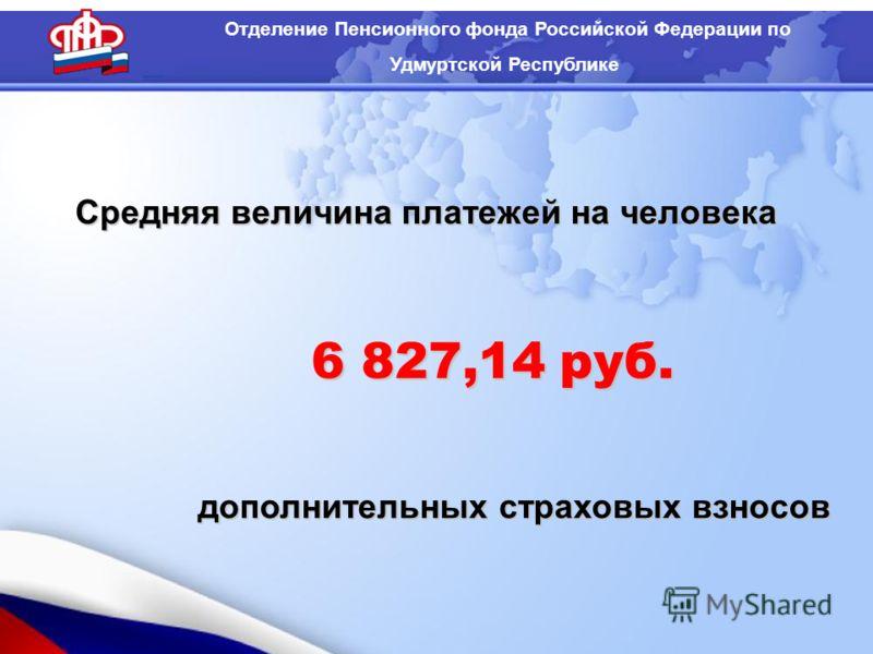 Средняя величина платежей на человека дополнительных страховых взносов Отделение Пенсионного фонда Российской Федерации по Удмуртской Республике 6 827,14 руб.