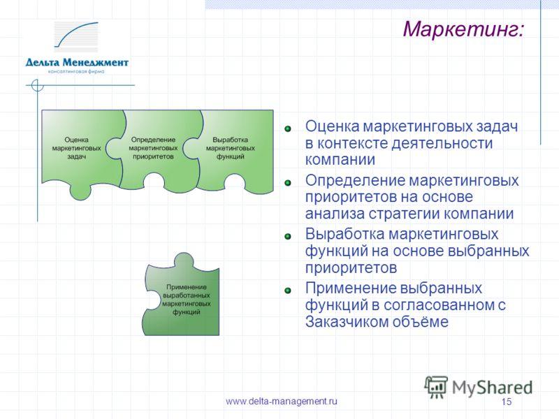 15 Маркетинг: Оценка маркетинговых задач в контексте деятельности компании Определение маркетинговых приоритетов на основе анализа стратегии компании Выработка маркетинговых функций на основе выбранных приоритетов Применение выбранных функций в согла