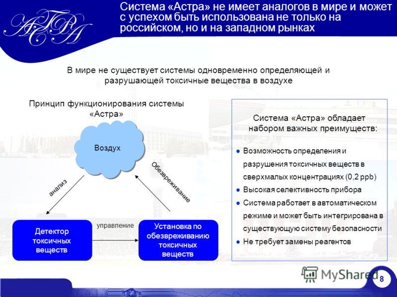 8 Система «Астра» не имеет аналогов в мире и может с успехом быть использована не только на российском, но и на западном рынках Система «Астра» обладает набором важных преимуществ: Возможность определения и разрушения токсичных веществ в сверхмалых к