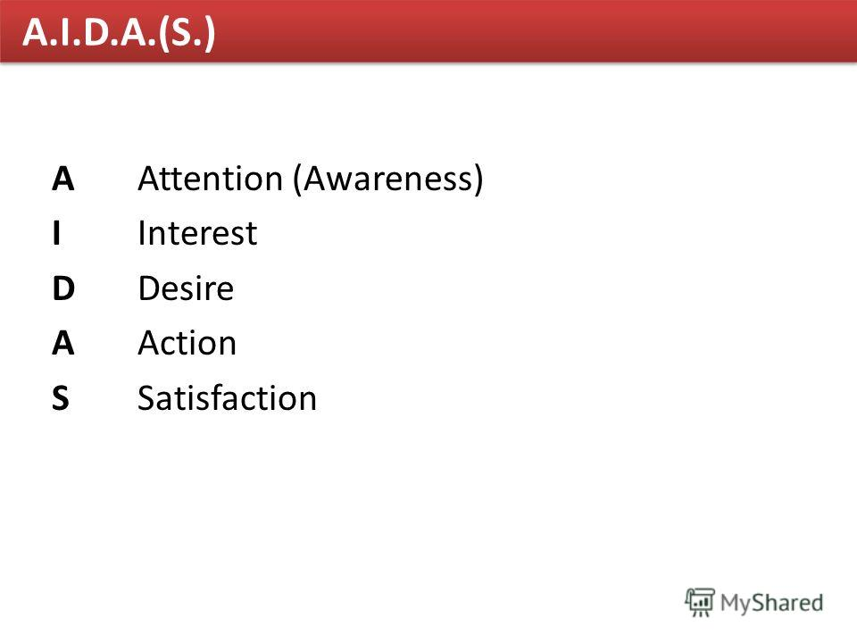A.I.D.A.(S.) AAttention (Awareness) IInterest DDesire AAction SSatisfaction