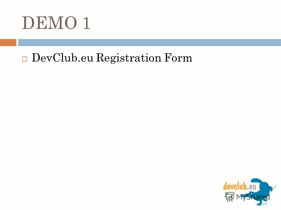 DEMO 1 DevClub.eu Registration Form