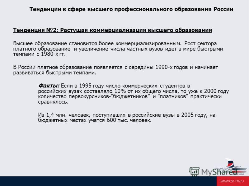 Тенденции в сфере высшего профессионального образования России Тенденция 2: Растущая коммерциализация высшего образования Высшее образование становится более коммерциализированным. Рост сектора платного образование и увеличение числа частных вузов ид