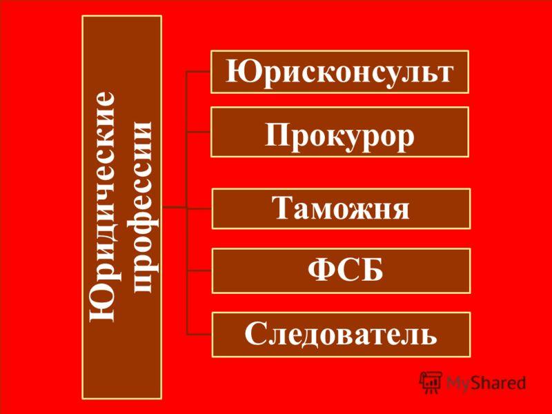 Юридические профессии Юрисконсульт Прокурор Таможня ФСБ Следователь