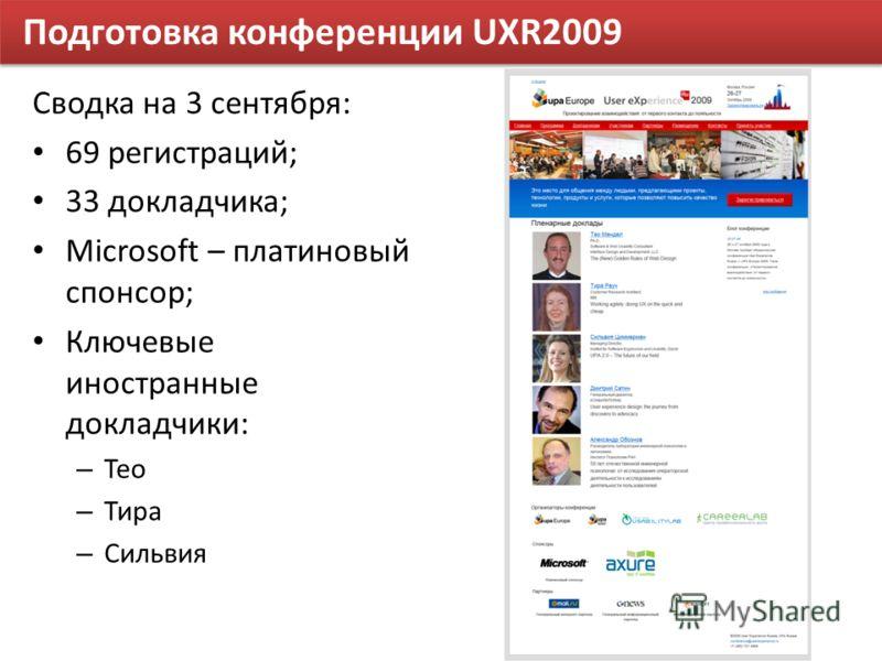 Подготовка конференции UXR2009 Сводка на 3 сентября: 69 регистраций; 33 докладчика; Microsoft – платиновый спонсор; Ключевые иностранные докладчики: – Тео – Тира – Сильвия