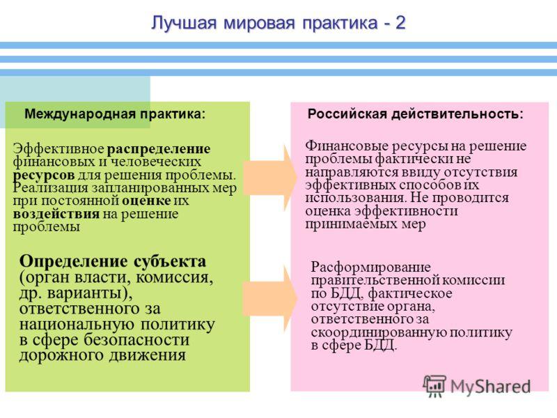 Лучшая мировая практика - 2 Международная практика:Российская действительность: Эффективное распределение финансовых и человеческих ресурсов для решения проблемы. Реализация запланированных мер при постоянной оценке их воздействия на решение проблемы