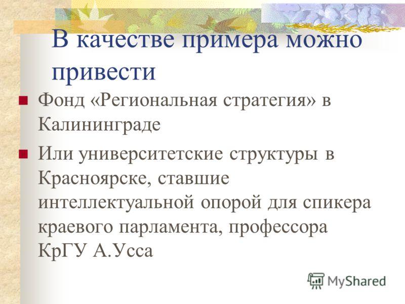Самостоятельная роль органов представительной власти В российских регионах Скорее исключение, чем правило. Однако, например, в Красноярском крае или в Калининградской области они представляют собой реальную силу Соответственно, в таких случаях при ни