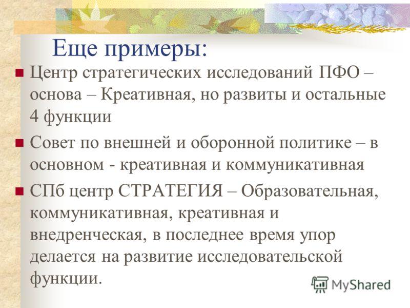 Например: Фонд ИНДЕМ: Исследовательская, креативная, внедренческая. Постепенно – коммуникативная Леонтьевский Центр – Также 4 функции, эта конференция – пример коммуникативной Московская Школа Политических Исследований – в основном образовательная +