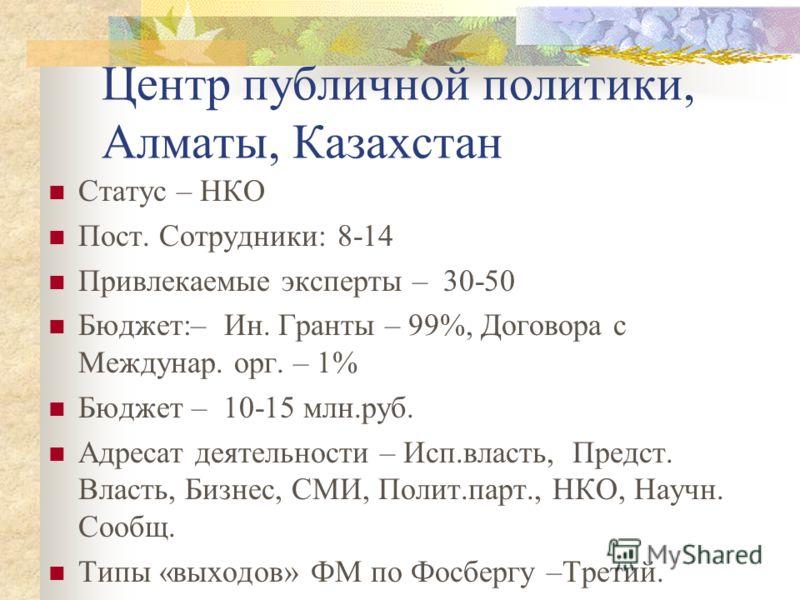 Центр публичной политики, Алматы, Казахстан