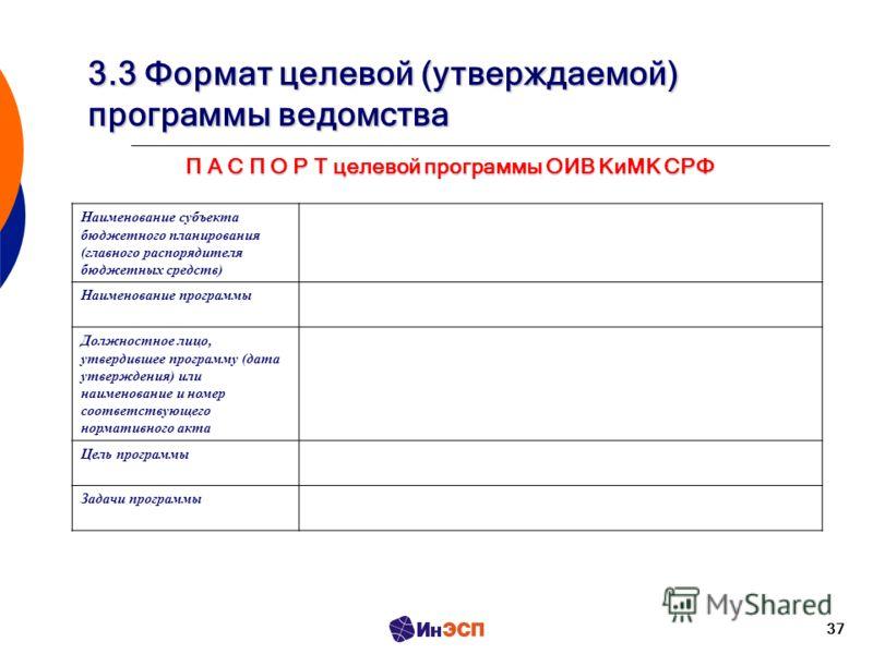 37 3.3 Формат целевой (утверждаемой) программы ведомства Наименование субъекта бюджетного планирования (главного распорядителя бюджетных средств) Наименование программы Должностное лицо, утвердившее программу (дата утверждения) или наименование и ном