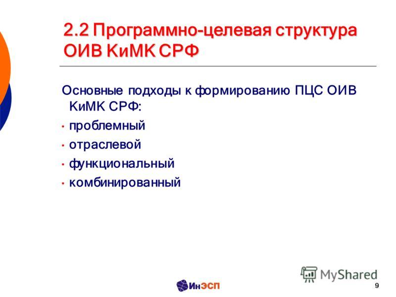 9 2.2 Программно-целевая структура ОИВ КиМК СРФ Основные подходы к формированию ПЦС ОИВ КиМК СРФ: проблемный отраслевой функциональный комбинированный