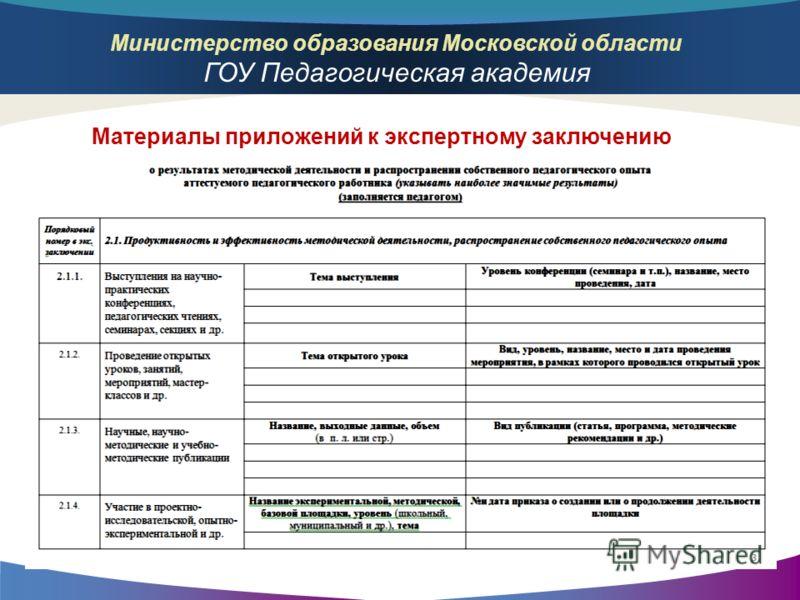Министерство образования Московской области ГОУ Педагогическая академия Материалы приложений к экспертному заключению