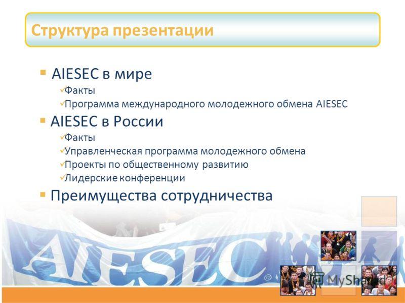 Структура презентации AIESEC в мире Факты Программа международного молодежного обмена AIESEC AIESEC в России Факты Управленческая программа молодежного обмена Проекты по общественному развитию Лидерские конференции Преимущества сотрудничества