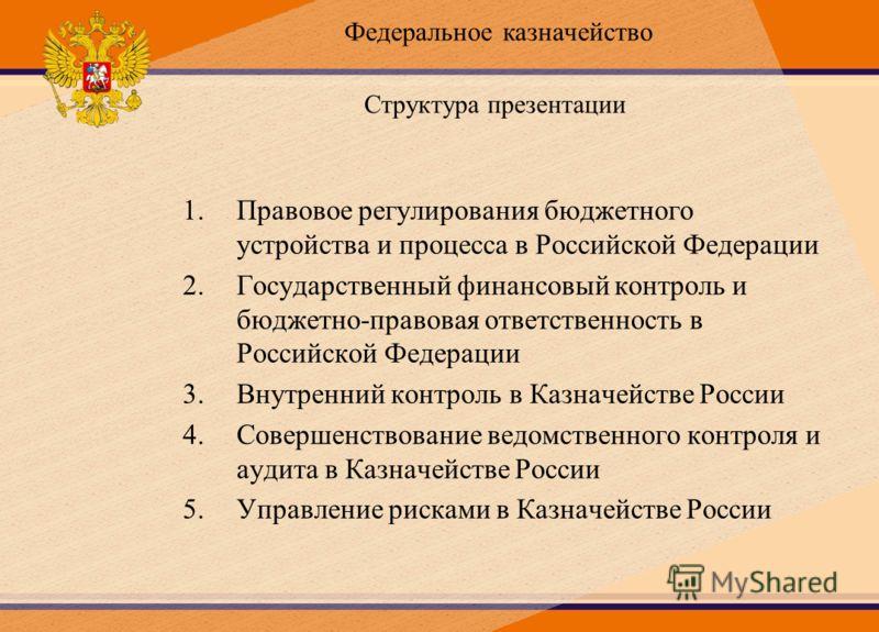 Структура презентации 1.Правовое регулирования бюджетного устройства и процесса в Российской Федерации 2.Государственный финансовый контроль и бюджетно-правовая ответственность в Российской Федерации 3.Внутренний контроль в Казначействе России 4.Сове
