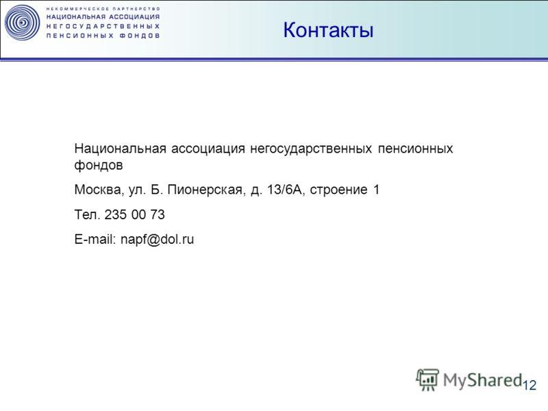 12 Контакты Национальная ассоциация негосударственных пенсионных фондов Москва, ул. Б. Пионерская, д. 13/6А, строение 1 Тел. 235 00 73 E-mail: napf@dol.ru