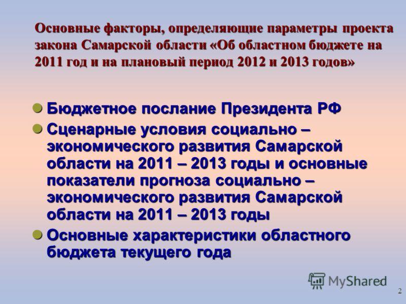 2 2 Основные факторы, определяющие параметры проекта закона Самарской области «Об областном бюджете на 2011 год и на плановый период 2012 и 2013 годов» Бюджетное послание Президента РФ Бюджетное послание Президента РФ Сценарные условия социально – эк