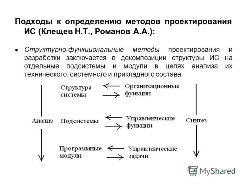 Подходы к определению методов проектирования ИС (Клещев Н.Т., Романов А.А.): Структурно-функциональные методы проектирования и разработки заключается в декомпозиции структуры ИС на отдельные подсистемы и модули в целях анализа их технического, систем