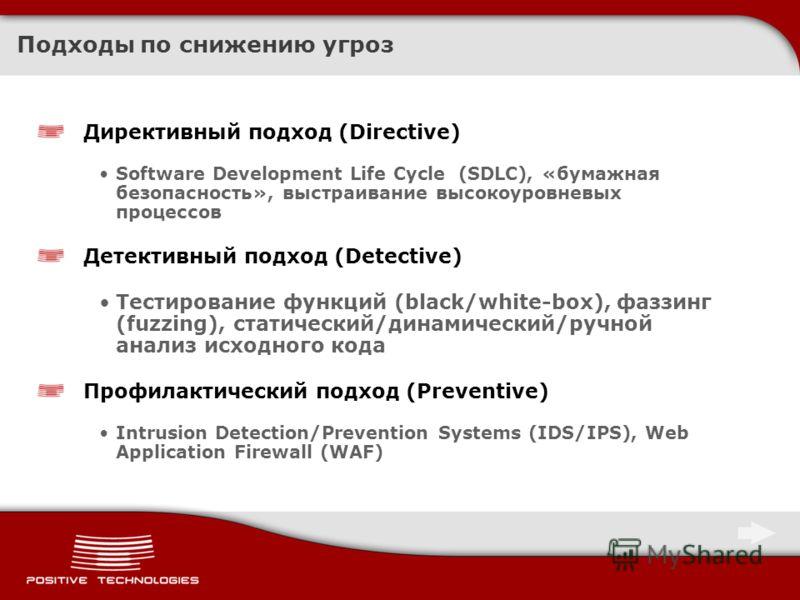 Подходы по снижению угроз Директивный подход (Directive) Software Development Life Cycle (SDLC), «бумажная безопасность», выстраивание высокоуровневых процессов Детективный подход (Detective) Тестирование функций (black/white-box), фаззинг (fuzzing),