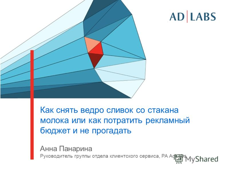 Как снять ведро сливок со стакана молока или как потратить рекламный бюджет и не прогадать Анна Панарина Руководитель группы отдела клиентского сервиса, РА AdLabs