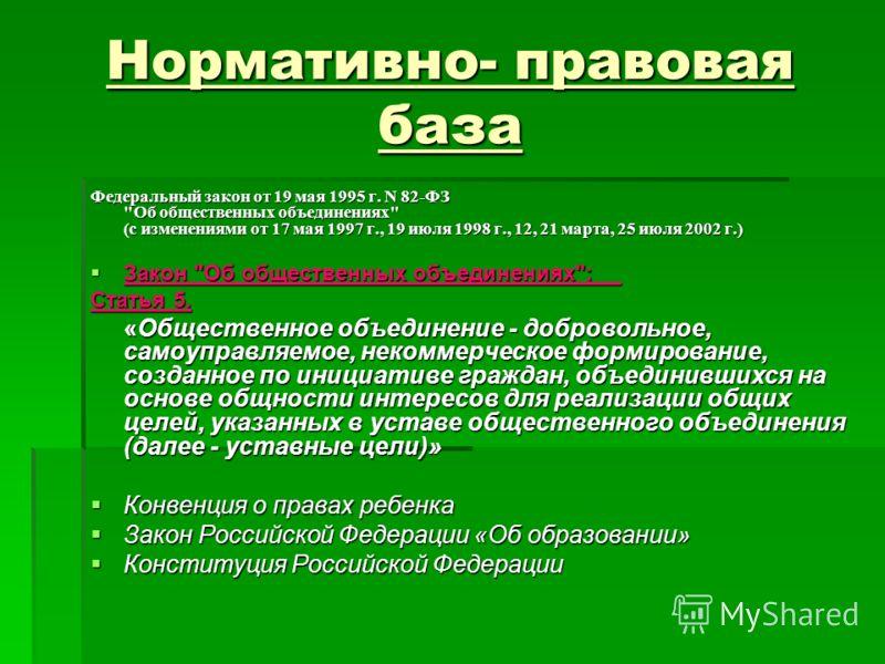 Нормативно- правовая база Федеральный закон от 19 мая 1995 г. N 82-ФЗ