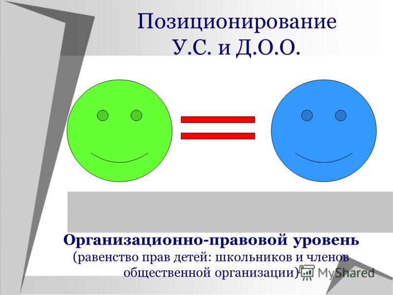 Позиционирование У.С. и Д.О.О. Организационно-правовой уровень (равенство прав детей: школьников и членов общественной организации)
