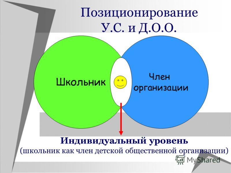 Позиционирование У.С. и Д.О.О. Школьник Член организации Индивидуальный уровень (школьник как член детской общественной организации)