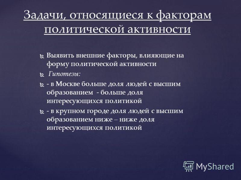 Выявить внешние факторы, влияющие на форму политической активности Гипотезы: - в Москве больше доля людей с высшим образованием - больше доля интересующихся политикой - в крупном городе доля людей с высшим образованием ниже – ниже доля интересующихся