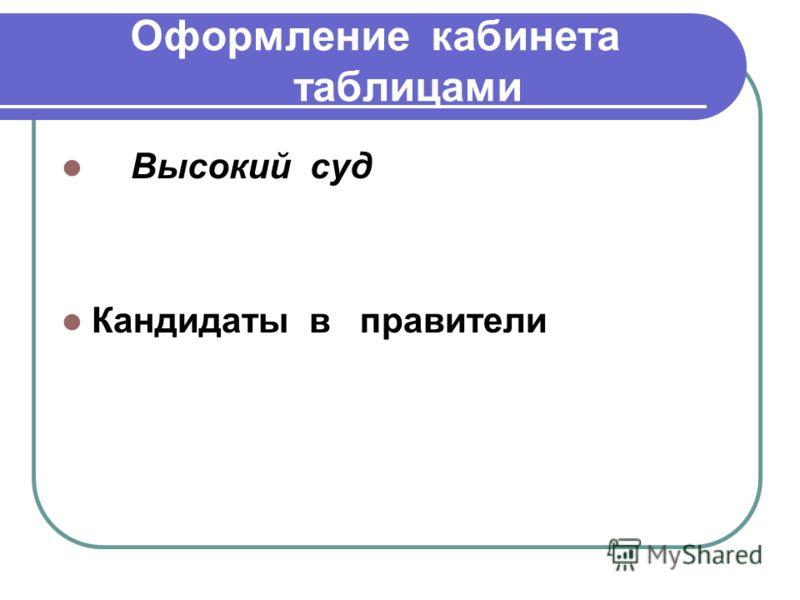 Оформление кабинета таблицами Высокий суд Кандидаты в правители