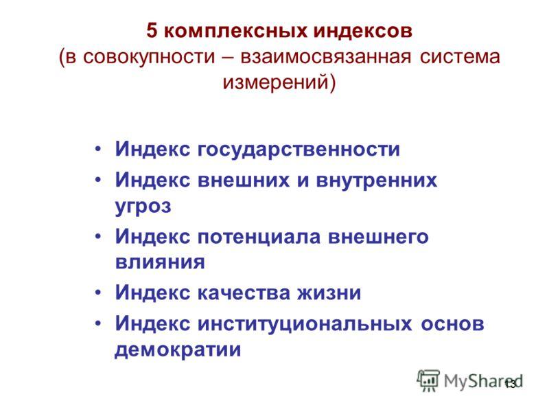 13 5 комплексных индексов (в совокупности – взаимосвязанная система измерений) Индекс государственности Индекс внешних и внутренних угроз Индекс потенциала внешнего влияния Индекс качества жизни Индекс институциональных основ демократии
