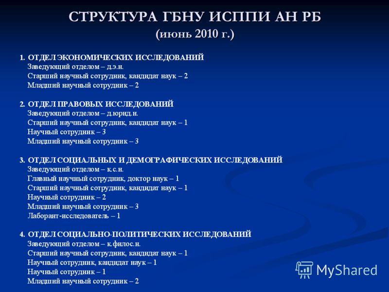 СТРУКТУРА ГБНУ ИСППИ АН РБ (июнь 2010 г.)