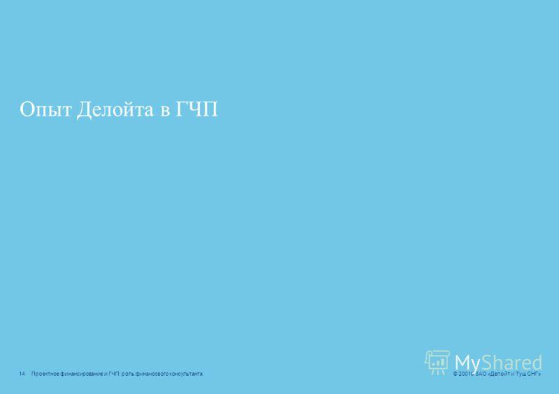 Проектное финансирование и ГЧП: роль финансового консультанта © 20010 ЗАО «Делойт и Туш СНГ» Preliminary analysis Привлечение финансирования Financial close Поддержка в процессе реализации Диагностика Анализ ключевых потребностей и отбор проектов для