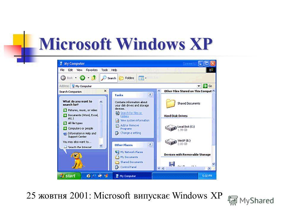 Microsoft Windows XP 25 жовтня 2001: Microsoft випускає Windows XP