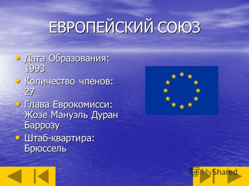 ЕВРОПЕЙСКИЙ СОЮЗ Дата Образования: 1993 Дата Образования: 1993 Количество членов: 27 Количество членов: 27 Глава Еврокомисси: Жозе Мануэль Дуран Баррозу Глава Еврокомисси: Жозе Мануэль Дуран Баррозу Штаб-квартира: Брюссель Штаб-квартира: Брюссель