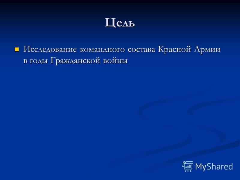 Цель Исследование командного состава Красной Армии в годы Гражданской войны Исследование командного состава Красной Армии в годы Гражданской войны