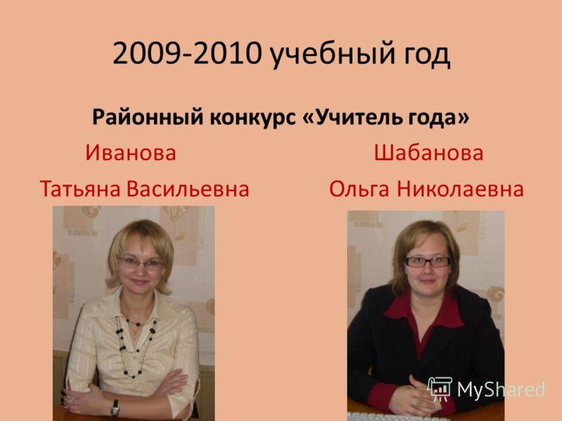 2009-2010 учебный год Районный конкурс «Учитель года» Иванова Шабанова Татьяна Васильевна Ольга Николаевна
