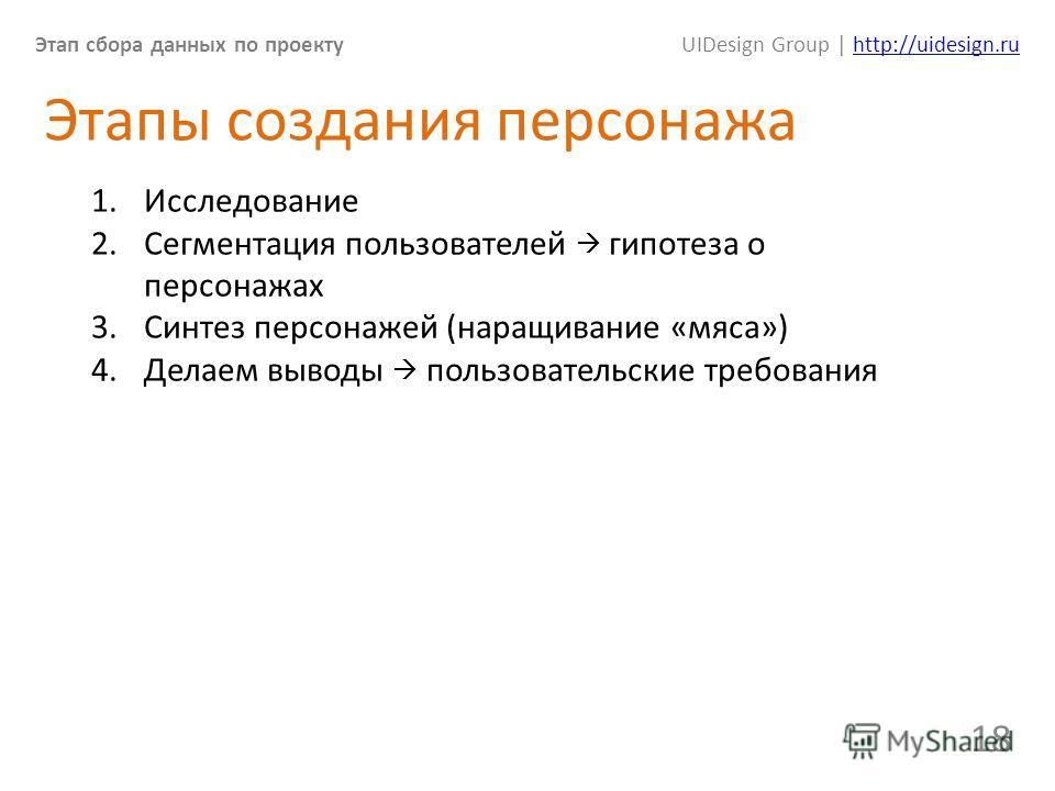 Этап сбора данных по проектуUIDesign Group | http://uidesign.ruhttp://uidesign.ru 18 Этапы создания персонажа 1. Исследование 2. Сегментация пользователей гипотеза о персонажах 3. Синтез персонажей (наращивание «мяса») 4. Делаем выводы пользовательск