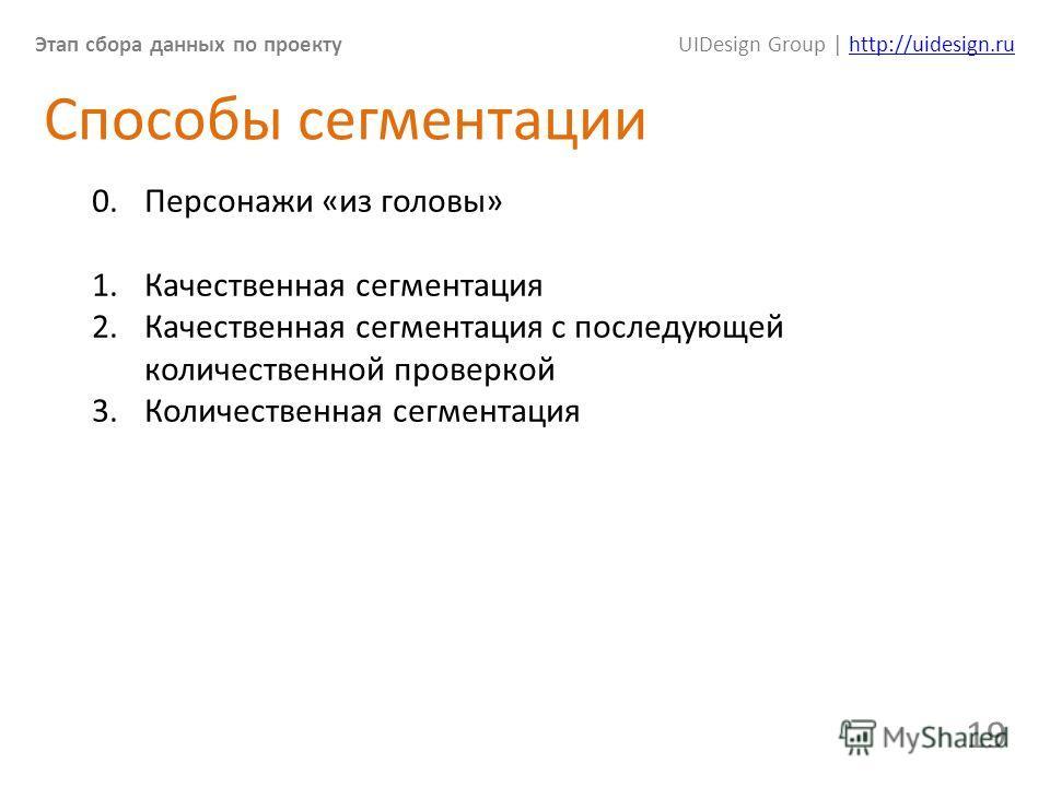 Этап сбора данных по проектуUIDesign Group | http://uidesign.ruhttp://uidesign.ru 19 Способы сегментации 0. Персонажи «из головы» 1. Качественная сегментация 2. Качественная сегментация с последующей количественной проверкой 3. Количественная сегмент