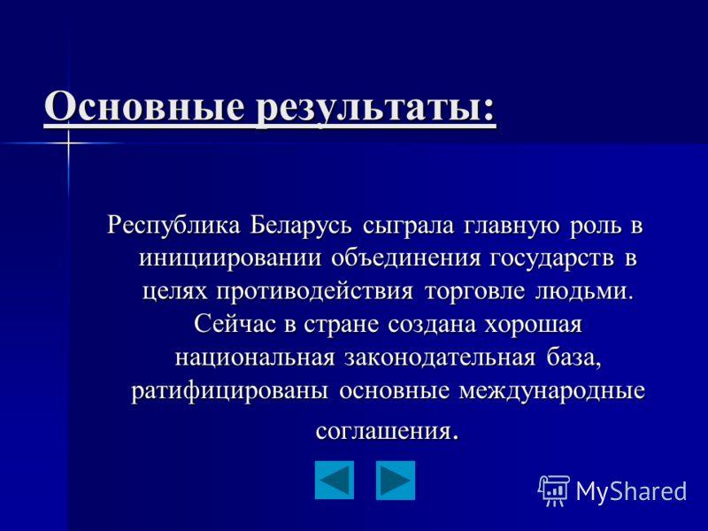 Основные результаты: Республика Беларусь сыграла главную роль в инициировании объединения государств в целях противодействия торговле людьми. Сейчас в стране создана хорошая национальная законодательная база, ратифицированы основные международные сог