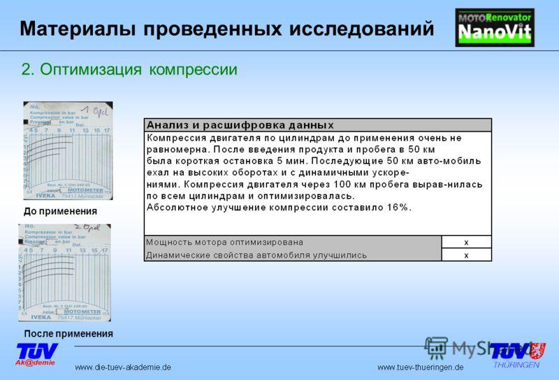 До применения После применения 2. Оптимизация компрессии Материалы проведенных исследований