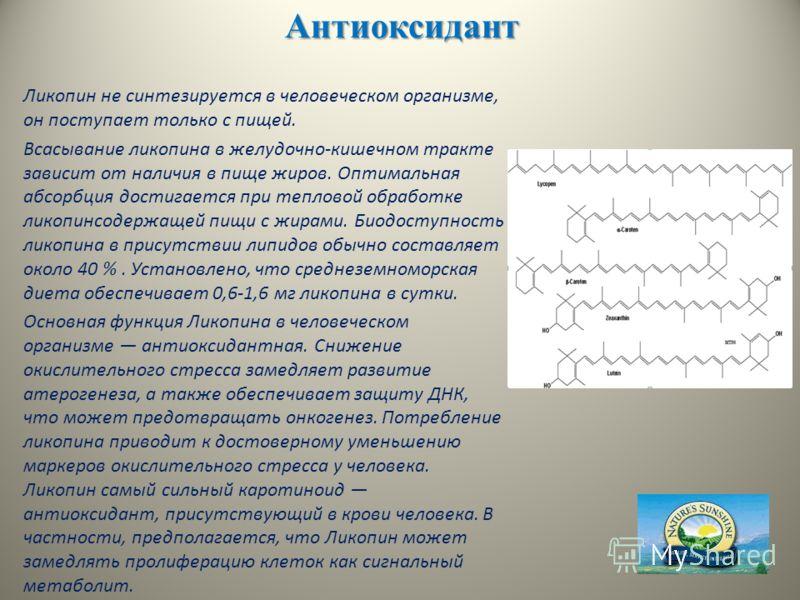 Антиоксидант Ликопин не синтезируется в человеческом организме, он поступает только с пищей. Всасывание ликопина в желудочно-кишечном тракте зависит от наличия в пище жиров. Оптимальная абсорбция достигается при тепловой обработке ликопинсодержащей п