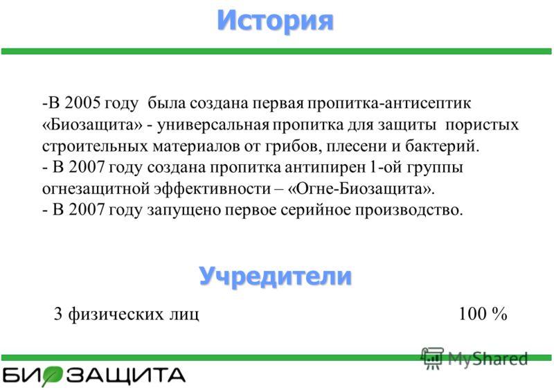 История -В 2005 году была создана первая пропитка-антисептик «Биозащита» - универсальная пропитка для защиты пористых строительных материалов от грибов, плесени и бактерий. - В 2007 году создана пропитка антипирен 1-ой группы огнезащитной эффективнос