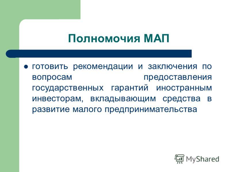 Полномочия МАП готовить рекомендации и заключения по вопросам предоставления государственных гарантий иностранным инвесторам, вкладывающим средства в развитие малого предпринимательства