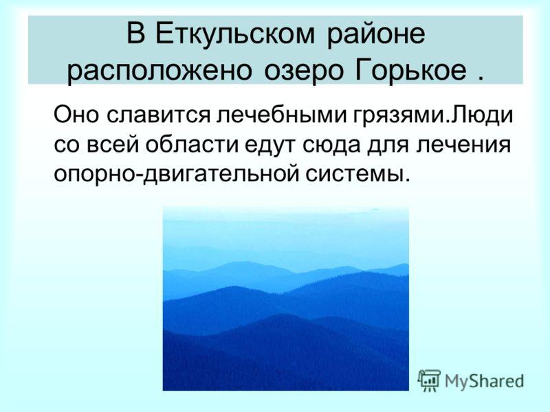 В Еткульском районе расположено озеро Горькое. Оно славится лечебными грязями.Люди со всей области едут сюда для лечения опорно-двигательной системы.