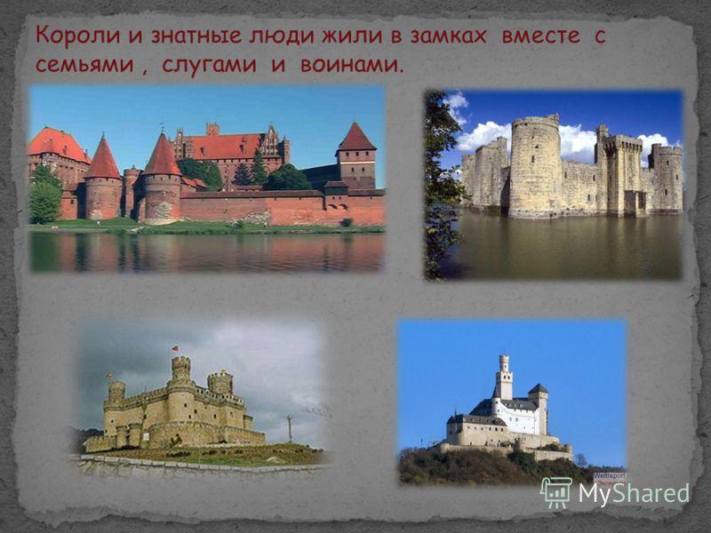 Короли и знатные люди жили в замках вместе с семьями, слугами и воинами.