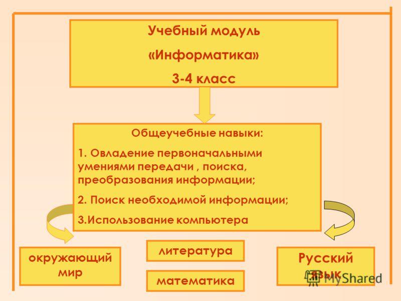 литература окружающий мир математика Русский язык Учебный модуль «Информатика» 3-4 класс Общеучебные навыки: 1. Овладение первоначальными умениями передачи, поиска, преобразования информации; 2. Поиск необходимой информации; 3.Использование компьютер